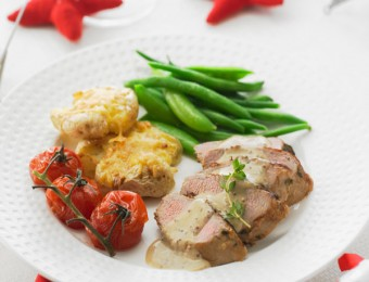 Lemon and Thyme Pork Fillet with Seeded Mustard Sauce