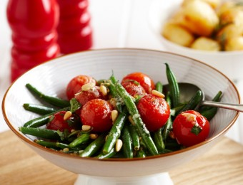 Beans and Cherry Tomatoes with Pine Nut Butter
