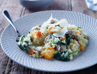 Italian Sausage, Pumpkin And Spinach Risotto