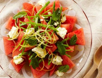 Watermelon and Snow Pea Salad with Marinated Feta