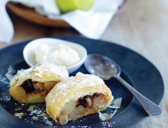 Packham's Triumph Pear and Cinnamon Strudel with Vanilla Bean Ice Cream
