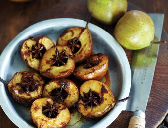 Oven Roasted Tandoori Winter Nelis Pears with Star Anise and Honey Yoghurt