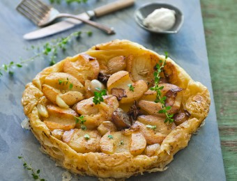 Pear and Shallot Tart Tartine with Goat's Curd