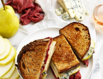 Rare Roast Beef, Pear and Creamy Blue Cheese Toasties