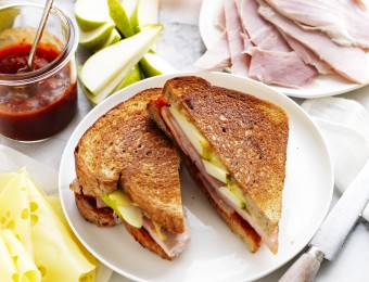 Ham and Cheese Toastie with pears