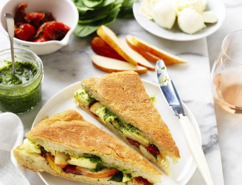 Pesto, Semi Dried Tomato, Pear and Bocconcini Toasties