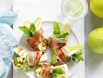 Pear, Brie and Prosciutto Wedges