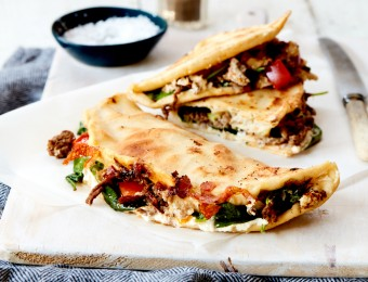 Folded Beef and Ricotta Pita Pizza