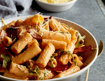 Rocket and Chorizo Rigatoni with Sundried Tomato Ricotta