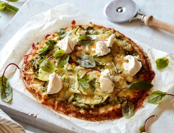 Cauliflower Pizza with Pesto, Summer Veggies and Ricotta