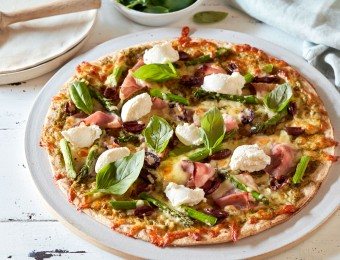 Ham, Olive, Asparagus and Ricotta Pizza