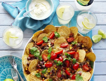 Mexican Beef, Corn and Bean Nachos recipe