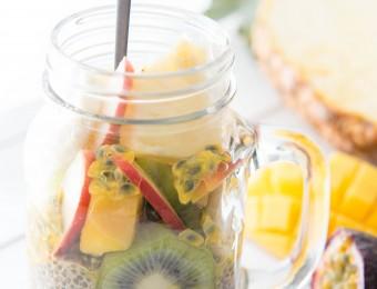 Vegan Tropical Fruit Chia Pudding