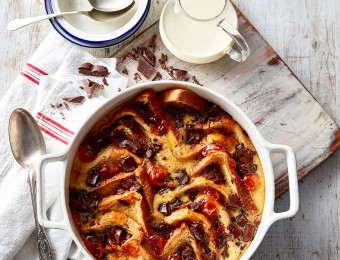 Chocolate and orange marmalade bread and butter pudding recipe