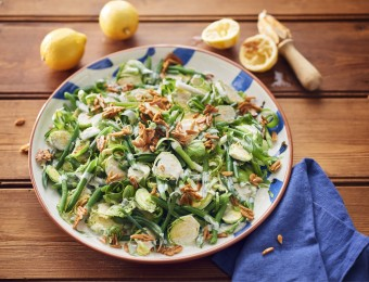 Lemony Sprout Salad with Maple Almonds