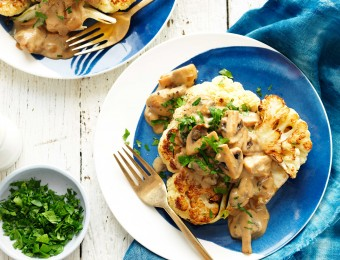 Cauliflower Steaks with Mushroom Sauce
