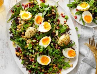 Wild rice, dukkha egg and pomegranate salad