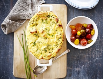 Cheesy egg and bread bake recipe