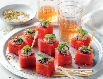 Watermelon cubes with feta, olives and mint