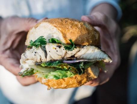 BBQ Australian barramundi fish burger