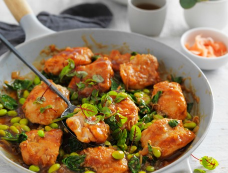 Teriyaki chicken with edamame recipe