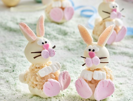 White chocolate crackle Easter bunny rabbits