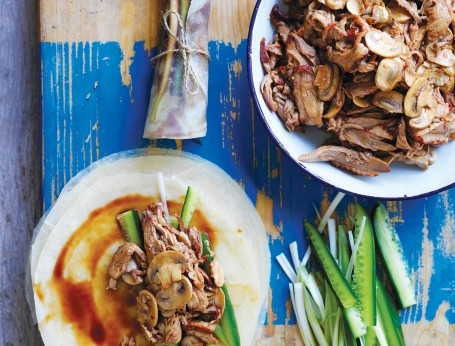Mushroom & Duck Pancakes dinner party recipe idea