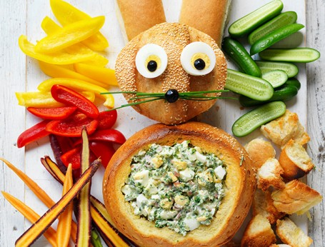 Easy Egg Salad turned into Easter Bunny Cob