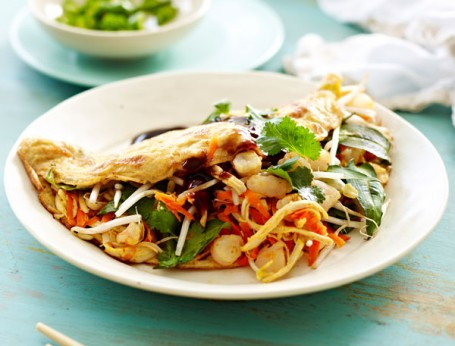 Asian Prawn and Chicken Omelette