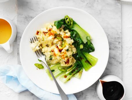 Asian Style Scrambled Eggs - high protein breakfast ideas