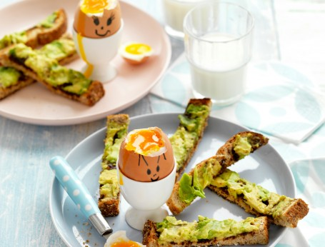 Soft Boiled Eggs with Avocado and Vegemite Soldiers