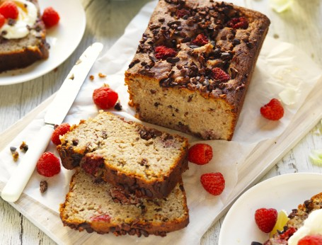 Healthy banana and raspberry bread recipe