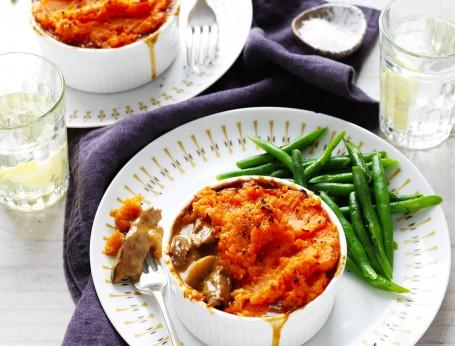 Beef Stroganoff and Sweet Potato Pot Pies