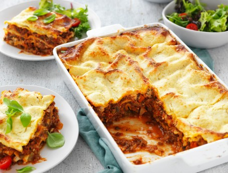 Healthy Lasagne with Lentils and Ricotta Cheese Sauce