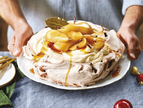 Chocolate pavlova with pears
