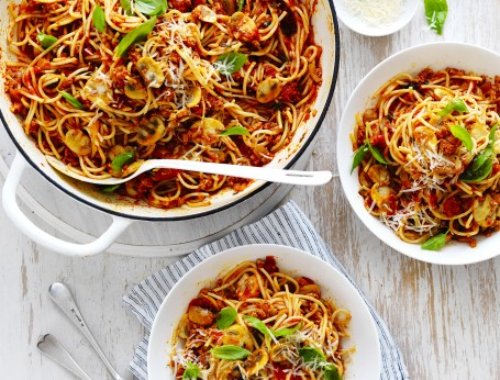 Mushroom Bolognese Recipe with Spaghetti