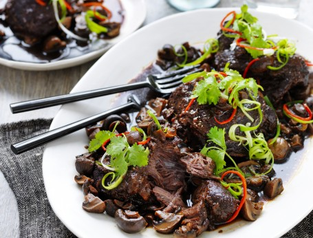 Asian-Style Slow Cooked Beef Cheek with Mushrooms