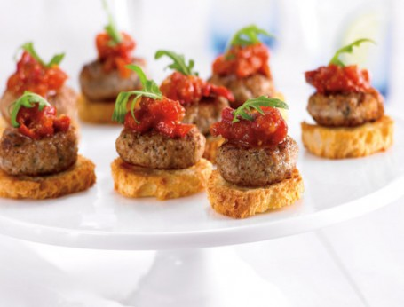 Mini Quail Meatballs On Crostini