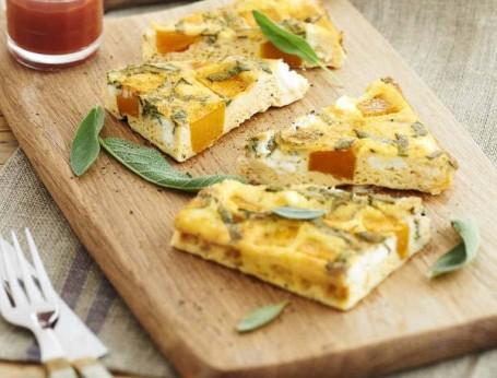 Pumpkin Sage and Goats Cheese Frittata