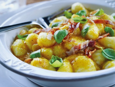 Pumpkin Gnocchi With Crispy Pancetta And Basil