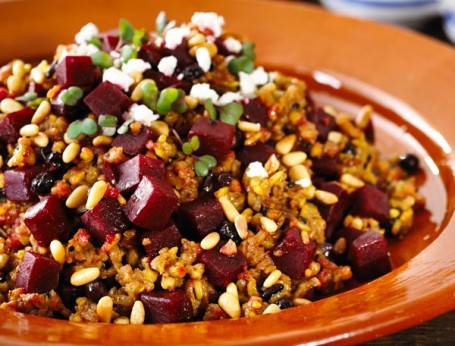 Ancient Beetroot Pilaf with Goats Cheese