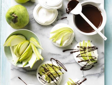 Pear Pavlova with Chocolate