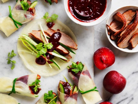 Duck pancakes with plum sauce recipe made from scratch