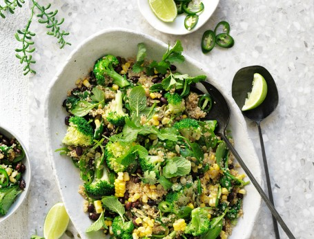 Try this easy vegetarian quinoa pilaf with spinach. This is a high protein vegan recipe
