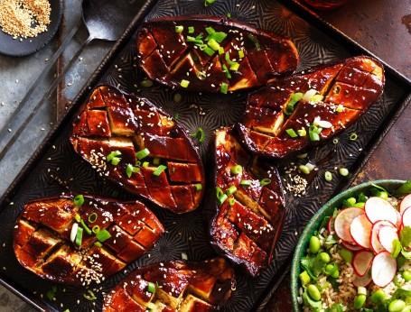 Roasted glazed teriyaki eggplant with rice