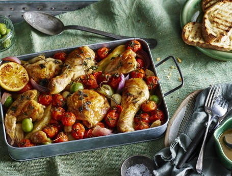 Spanish Paprika Chicken with Truss Tomatoes, Red Onions and Olives