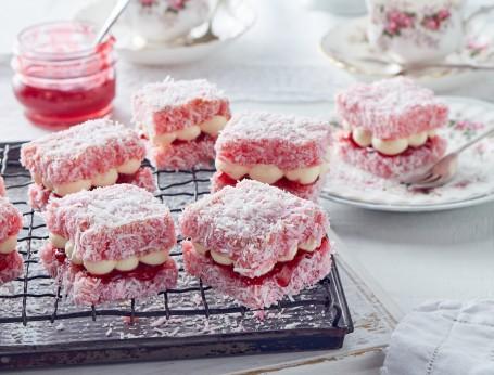 Pink Lamington Jelly Cakes recipe