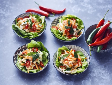 Asian Poached Chicken Slaw in Lettuce Cups