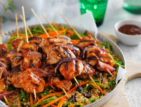 Char-grilled barbecue chicken skewers with couscous salad recipe