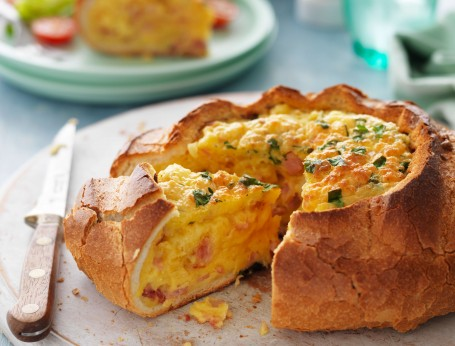 Quiche in a Cob with Cheese and Bacon